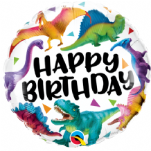 "Birthday Colourful Dinosaurs Foil Balloon (18"") 1pc"